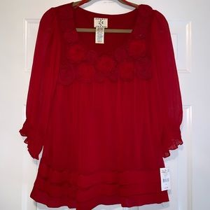 NWT Red Sheer Blouse